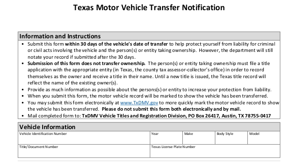 Texas Vehicle Transfer Notification >> Free 5 Dmv Release Of Liability Forms In Pdf Word