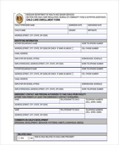 daycare enrollment contract form