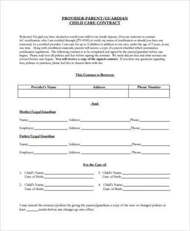 Daycare Payment Agreement Form