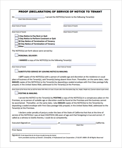 declaration of proof of service form
