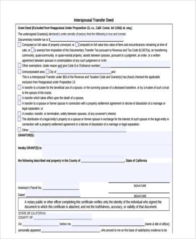 deed transfer form example