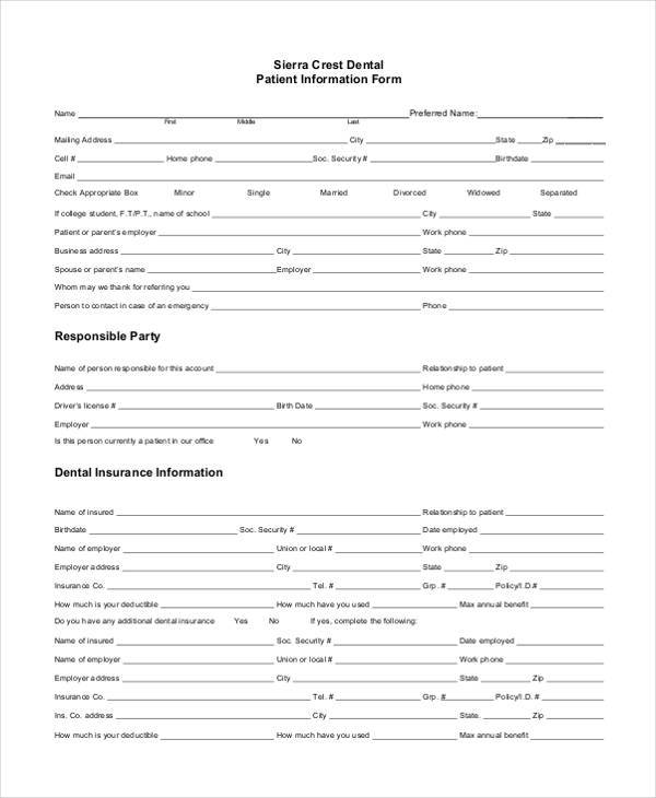 dental patient information form