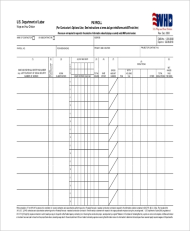 Certified Payroll Sample Forms - 7+ Free Documents in Word, PDF, Excel