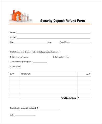 deposit refund receipt form1