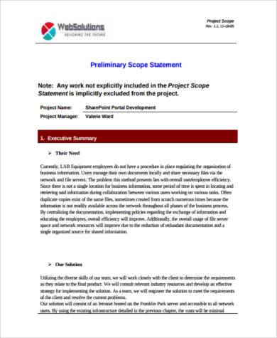 develop preliminary project scope statement