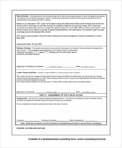 developmental counseling form example