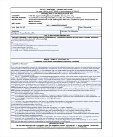 developmental counseling regulation form