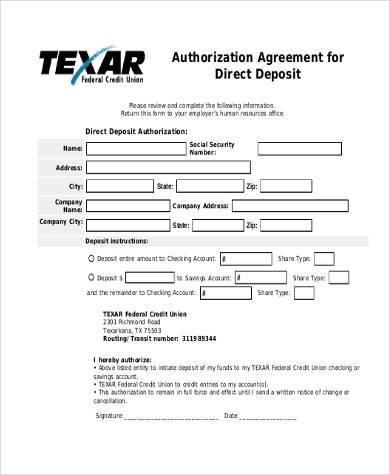 direct deposit agreement authorization form