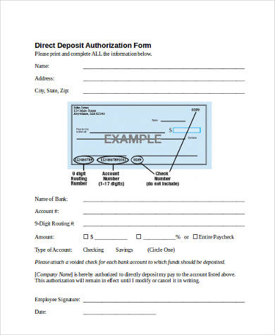 Direct Deposit Authorization Form Samples - 8+ Free Documents in ...