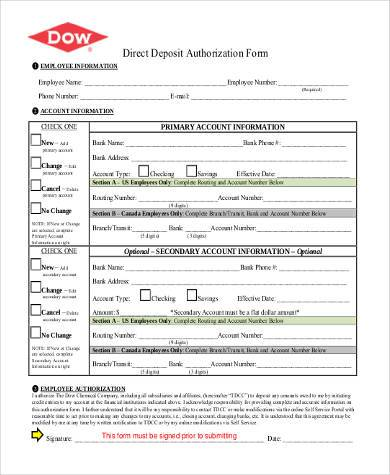 direct deposit authorization form sample