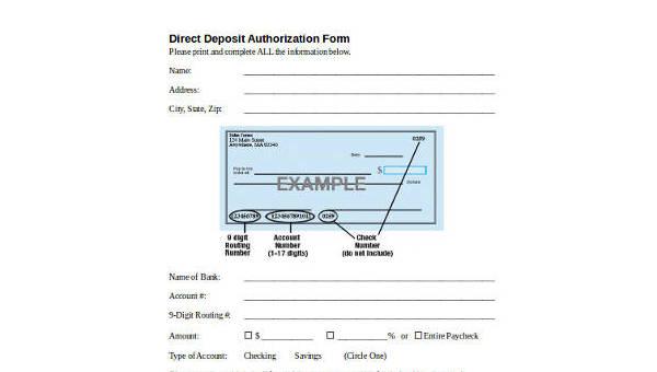 direct deposit authorization form samples