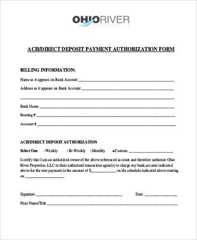 direct deposit billing authorization form