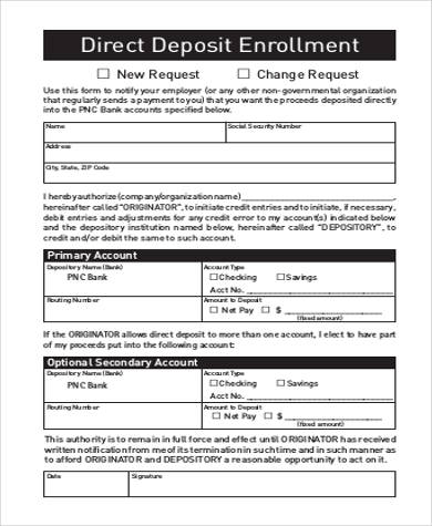 direct deposit enrollment form example
