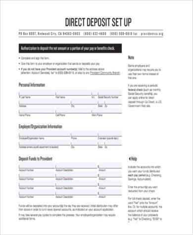 direct deposit setup form
