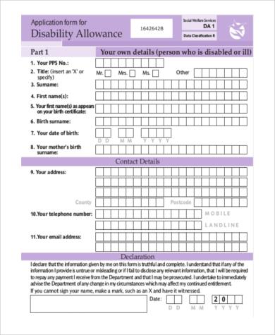 disability allowance application form