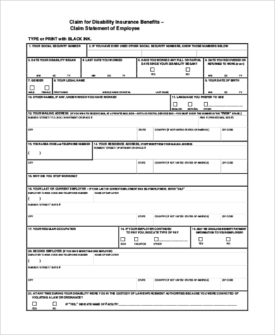 disability job application form