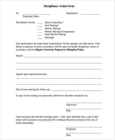 Disciplinary Action Form Samples - 9+ Free Documents In Word, Pdf