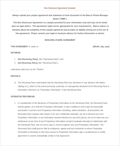 Sample Disclosure Agreement Form 8 Free Documents In Word Pdf