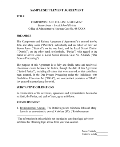 disclosure of settlement agreement