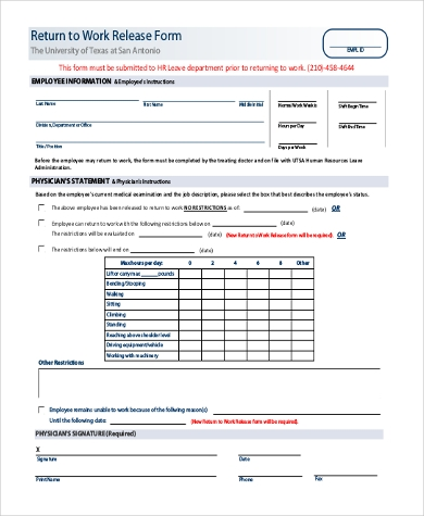 doctors work release form