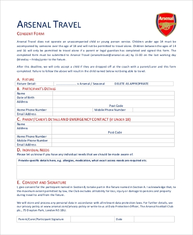 domestic travel consent form