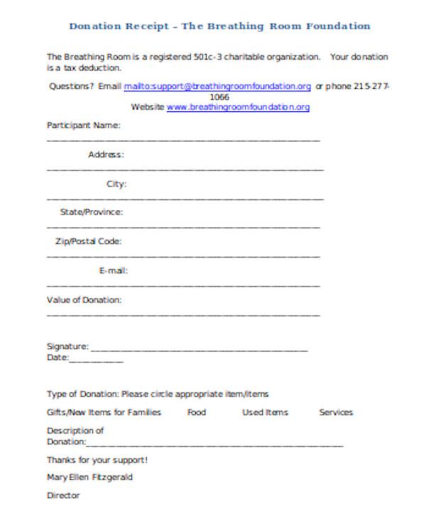 donation receipt form sample
