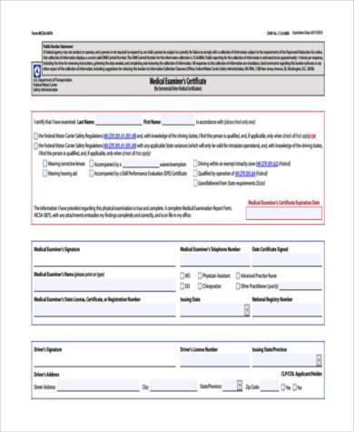 dot physical certificate form