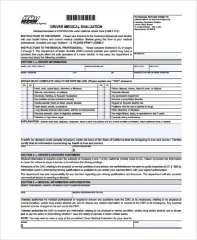 driver medical evaluation form