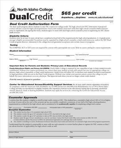 dual credit authorization form