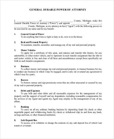 General Power Of Attorney Form Samples 7 Free Documents In Word Pdf