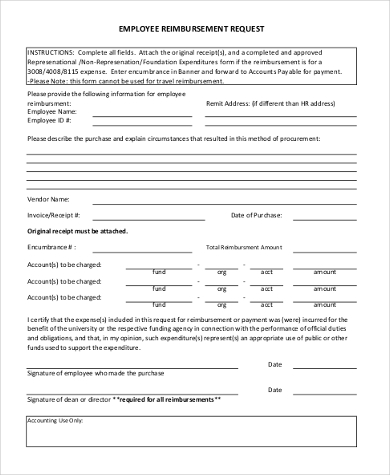 employee reimbursement request