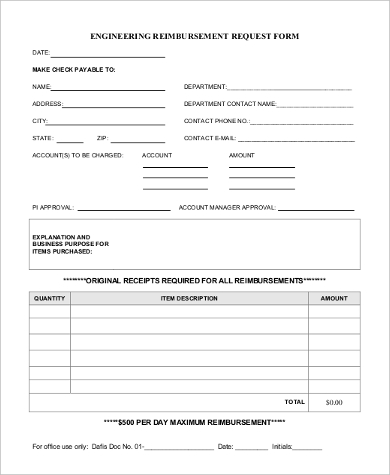 Sample Reimbursement Request Form   Free Documents In Pdf