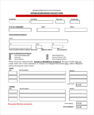 expense reimbursement request form