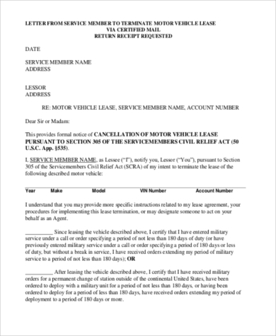 Early Termination Of Car Lease Agreement Form  Lease Agreement Form Template