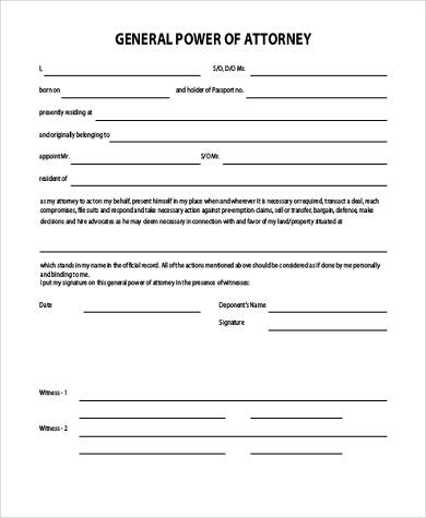 editable general power of attorney form