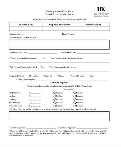 education travel authorization form