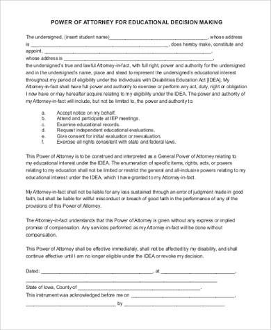 educational power attorney form