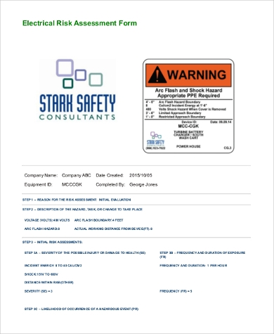 electrical risk assessment form