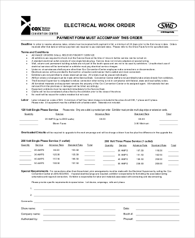 Example Of Work Order Form Sample Work Request Forms Work Request