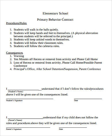 elementary student behavior contract