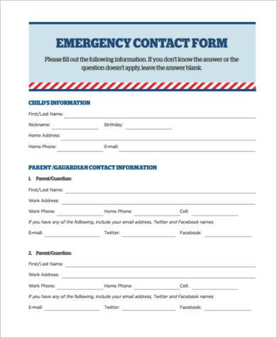emergency contact form sample