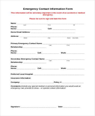 emergency contact info form