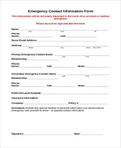 emergency contact information form2