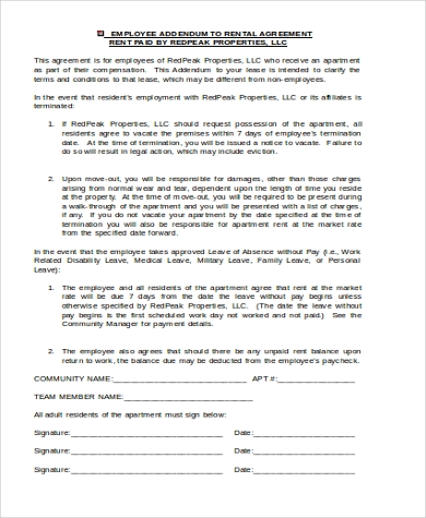 employee apartment rental agreement