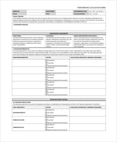 employee behavior evaluation form