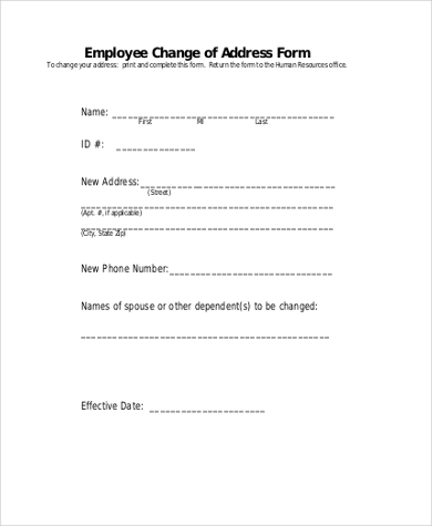 Change Of Address Form   Free Documents In Word Pdf