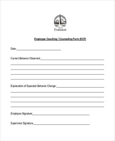 Employee-Coaching-and-Counseling-Form Examples Of Employee Coaching Forms on risk management form example, change management form example, project management form example, performance appraisal form example,