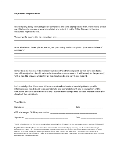 employee complaint investigation form