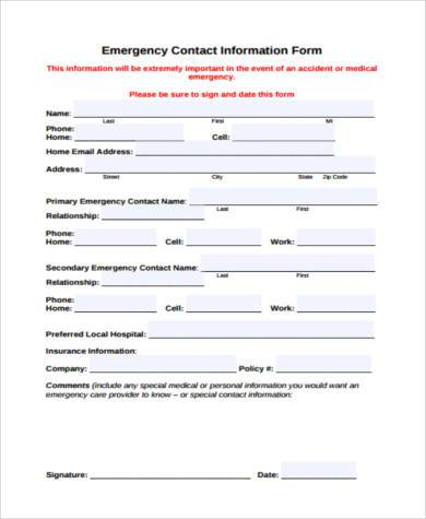 Employee Contact Form Sample  Contact Information Form Template