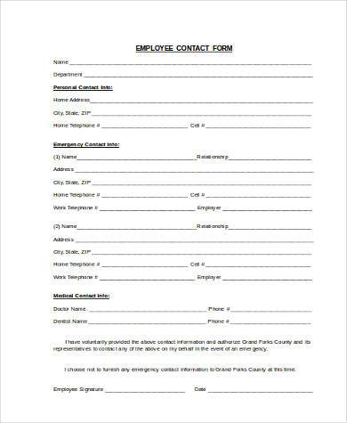 Sample Contact Information Forms - 9+ Free Documents In Word, Pdf